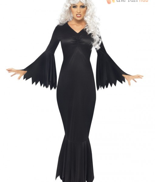 Ladies Vampire Witch Long Black Gown Halloween Womens Fancy Dress Costume Outfit   Amazing Shoes UK