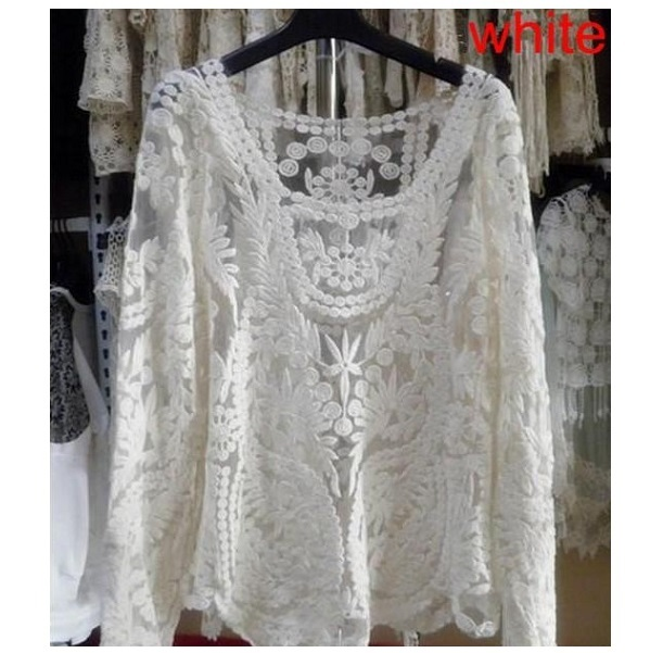 Lace Sexy Semi Sheer Embroidery Sleeve Floral Crochet Top Tee T Shirt Hot | eBay