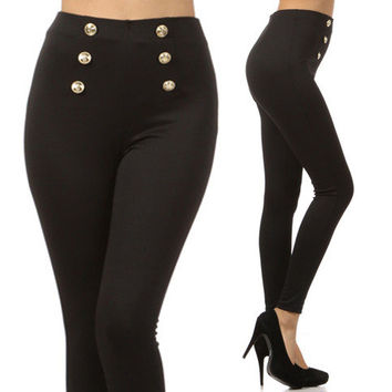Black High Waist Sailor Pants Gold Buttons on Wanelo