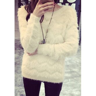 sweater winter sweater white streetwear rose wholesale winter outfits fuzzy sweater fluffy knitted sweater warm necklace casual chic