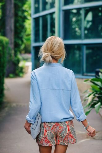 shorts low waisted paisley floral chambray blouse shirt suede grey bag blonde hair hair watch summer outfit