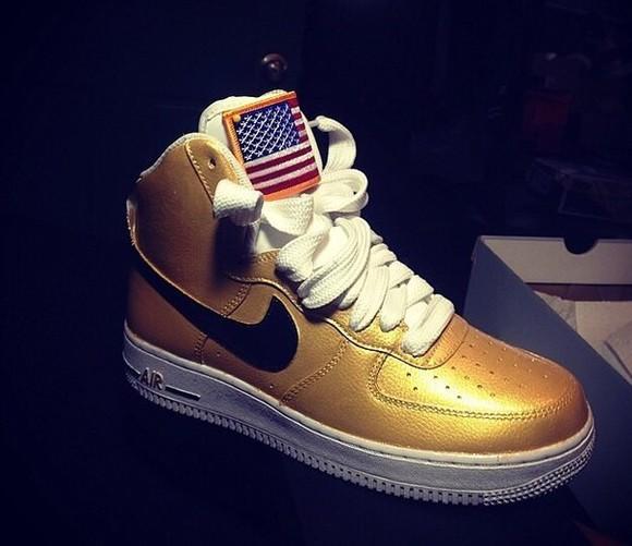 nike sneakers nike air air force ones gold rare