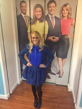 skirt underwood carrie underwood carrie blue blazer jacket scarf top scarf matching set