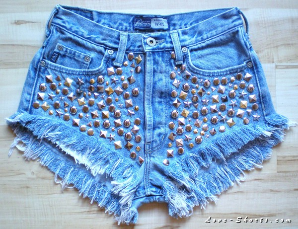 shorts t-shirt jeans High waisted shorts studs