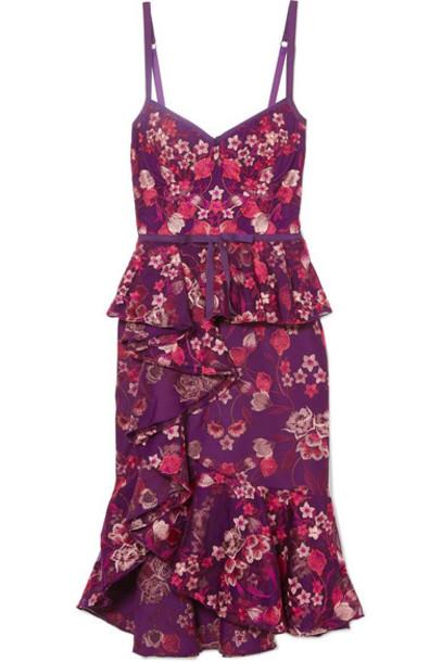 Marchesa Notte dress jersey dress embroidered purple