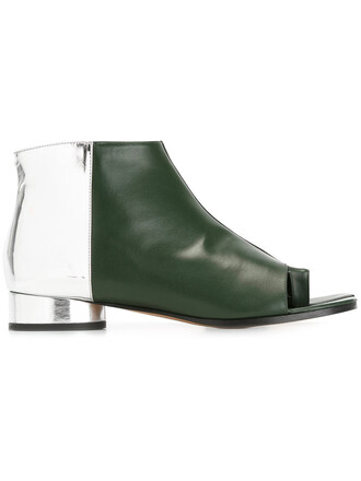 open women boots ankle boots leather green shoes