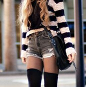 shorts,infinity scarf,black bag,High waisted shorts,tights,socks,striped sweater,sweater,pants,bag,underwear,cute,cardigan,stripes