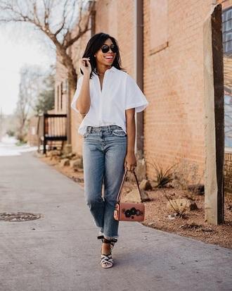 jeans frayed jeans blue jeans shirt white shirt sunglasses bag denim frayed denim