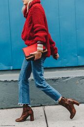 sweater,tumblr,red sweater,bag,red bag,denim,jeans,blue jeans,cropped jeans,boots,printed boots,snake print,thick heel,block heels,ankle boots,brown boots,turtleneck,oversized turtleneck sweater,winter outfits,winter look,fall outfits,heavy knit jumper,red cable knit sweater,snake print ankle boots