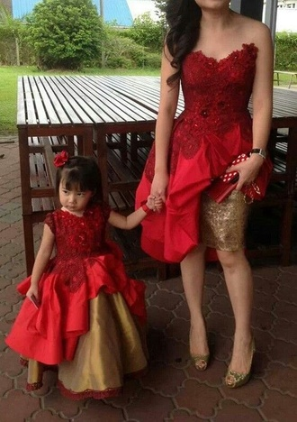 kids kids fashion girls toddler fashion kids mommy & me mommy and daughter fashion red dress red and gold custom dress dress mother and child