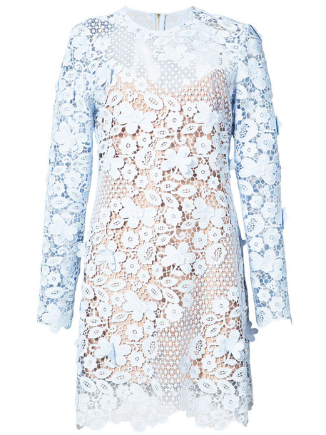 self-portrait dress shift dress women lace blue