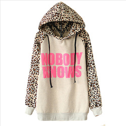 Online Shop 2014 New Hoodies Sports Sweatshirt Autumn Fashion Women Light Grey NOBODY KNOWS Print Hooded Leopard Casual Sweatshirt LS322|Aliexpress Mobile