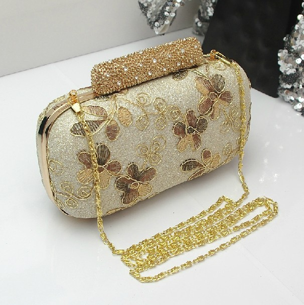 Aliexpress.com : Buy New Fashion Gold Floral Embroidered Box Clutch with Crystals Small Evening Bags Wedding Shoulder Bags Bridal Handbags Purse Hot from Reliable bag iphone suppliers on momofashion