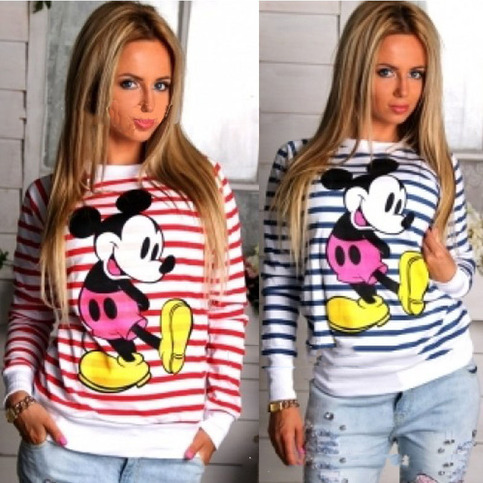 Mickey mouse cartoon woman butterfly t shirt striped sweater hoodie h033 from foreverfashion on storenvy