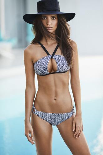 swimwear summer bikini top bikini bottoms hat emily ratajkowski model