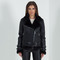 Women's shearling biker jacket