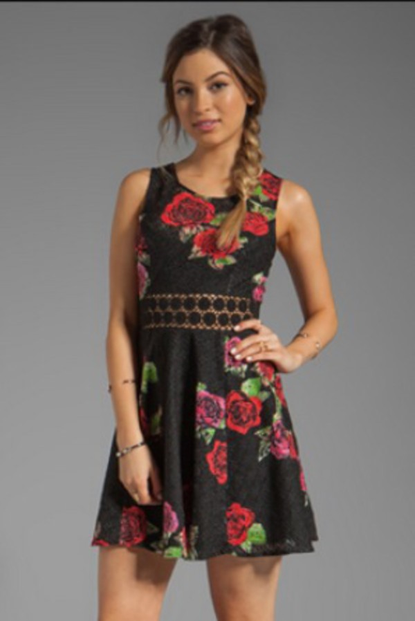dress black roses the vampire diaries katherine pierce floral black dress