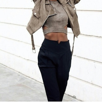 jacket female stone beige chic pants top