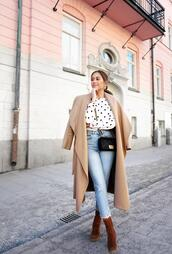 kenza,blogger,jeans,blouse,coat,jewels,shoes,bag,ankle boots,chanel bag,beige coat