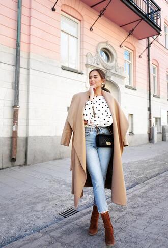 kenza blogger jeans blouse coat jewels shoes bag ankle boots chanel bag beige coat