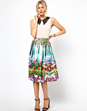 ASOS Midi Skirt In New Floral Print at ASOS