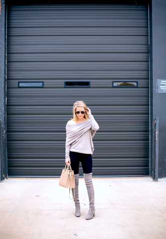 krystal schlegel blogger off the shoulder sweater grey sweater draped suede boots