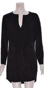 dress,women suede fringe long sleeve dress black