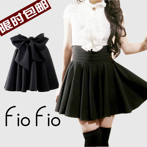 Spring and autumn amoi little black  bust skirt expansion bottom high waist short skirt vintage bow skirt plus size-inSkirts from Apparel & Accessories on Aliexpress.com