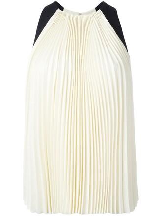 blouse pleated sleeveless women white silk top