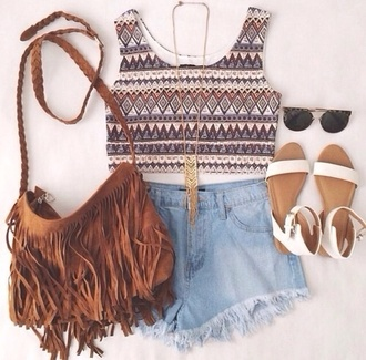 fringed bag flats crop tops bag necklace sunglasses sandals brown black gold leather suede bag shoes hippie fringes top jewels