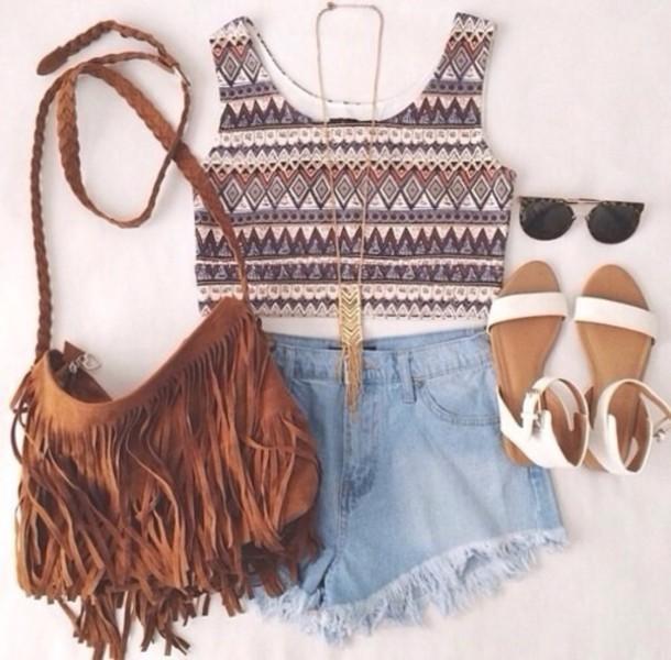 fringed bag flats crop tops bag necklace sunglasses sandals brown black gold leather suede bag shoes hippie fringes top jewels