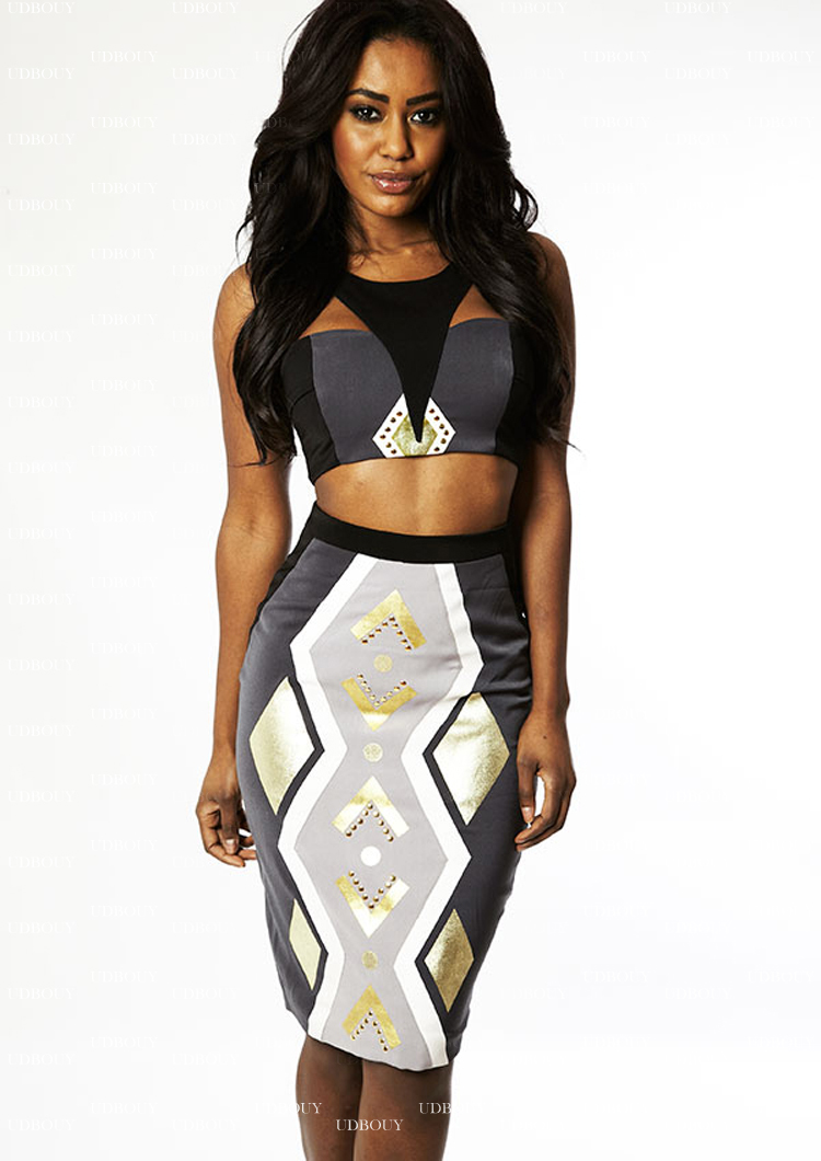 Gray Gold Tribal Bandage Dress H576$79