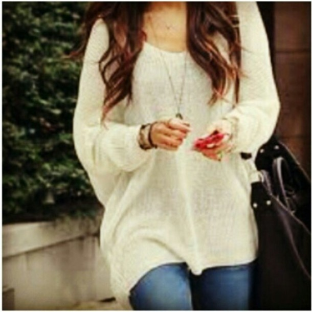 Sweater: cute, loose, fitting, tunic, white, black, grey, burgundy ...