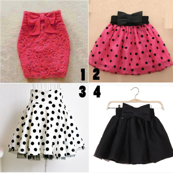 bows skirt black polka dot
