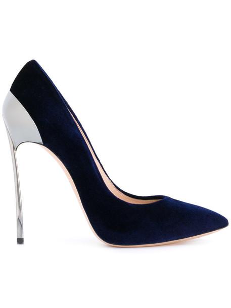 CASADEI women pumps leather blue shoes