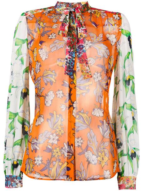 Tory Burch shirt women print silk yellow orange top