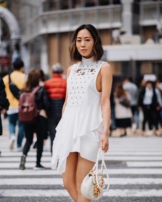 dress mini dress white dress asymmetrical dress sleeveless bag white bag asymmetrical sleeveless dress