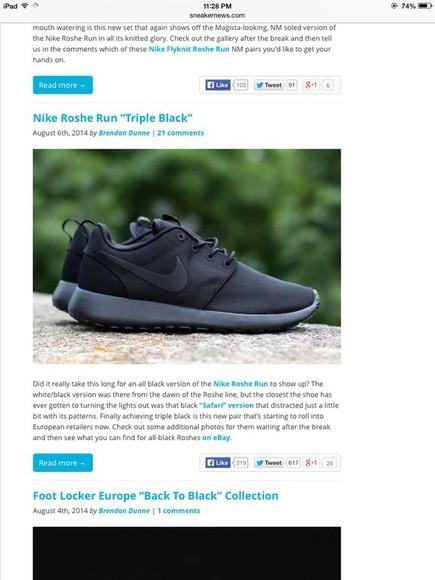 black nike running shoes triple black roshe