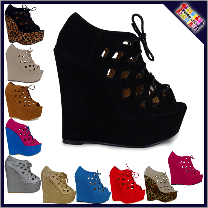 W5d womens ladies high heel platform sexy caged lace up celebrity wedges shoes