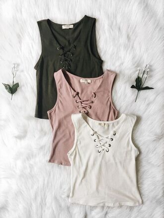 shirt lace up lace up top pink white navy green tumblr top