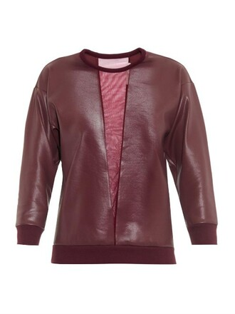 sweatshirt mesh burgundy sweater