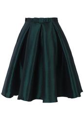 skirt,bow,pleated,a-line,dark green