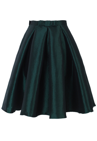 pleated skirt bows a-line dark green