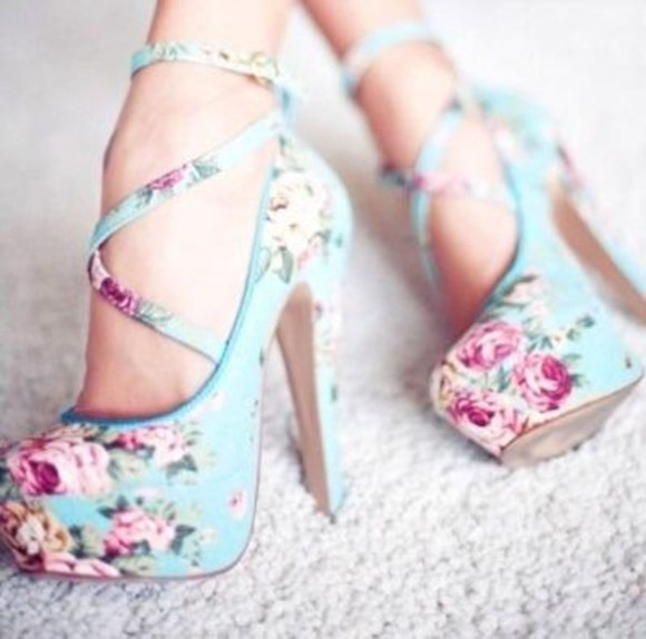 clothes shoes flower print blue