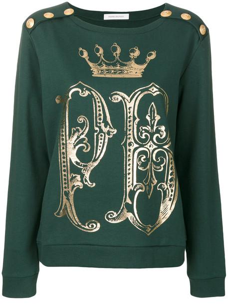 Pierre Balmain sweatshirt women cotton print green sweater