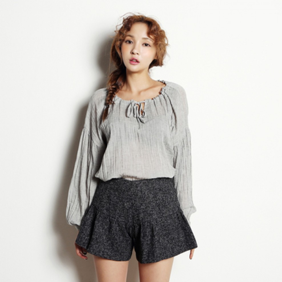 Ruffled pleated blouse