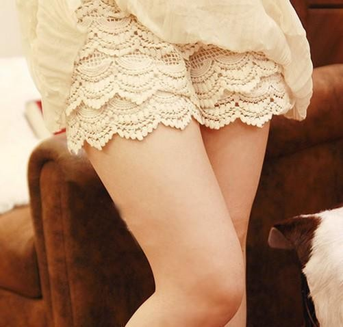 White Hollow Lace Shorts on Luulla