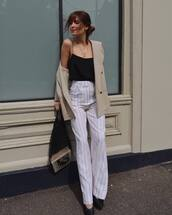 top,white pan,net bag,tumblr,black top,pants,stripes,striped pants,camisole,coat,trench coat