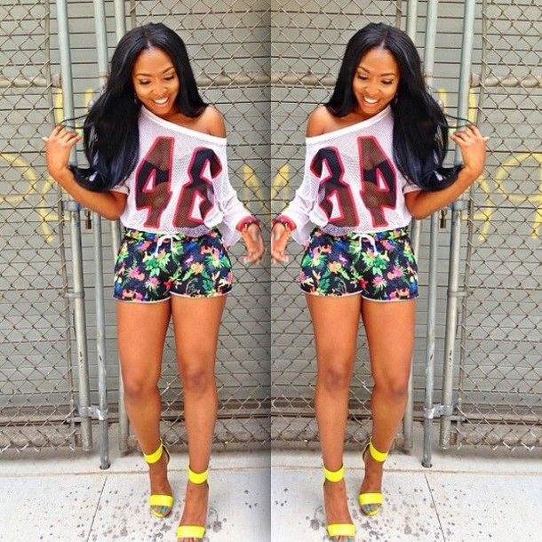 shorts floral off the shoulder high heels girly t-shirt blouse white shirt jersey red