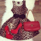 dress,leapord,bag,jewels,shoes,black bow,pearls necklace,leopard print,leopard print dress,mini dress,belt,underwear,sexy party dresses,animal print,necklace,pearl,red,waisted belt,cheeetah,flare,black bow belt,cute,heels,bow,elegant dress